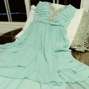 """deb""Chiffon HiLo Prom Dress with Deep V Beaded"